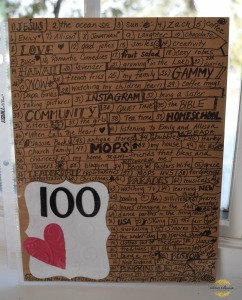100 things I love activity