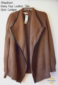 41Hawthorn Kenny Faux Leather Trim Open Cardigan